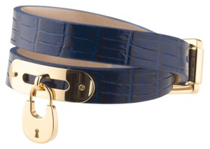 Michael Kors Embossed Navy Leather Gold Padlock Double Wrap Bracelet