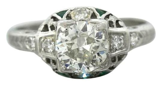 Preload https://img-static.tradesy.com/item/16464994/platinum-antique-art-deco-116ctw-emerald-diamond-filigree-engagement-ring-0-1-540-540.jpg