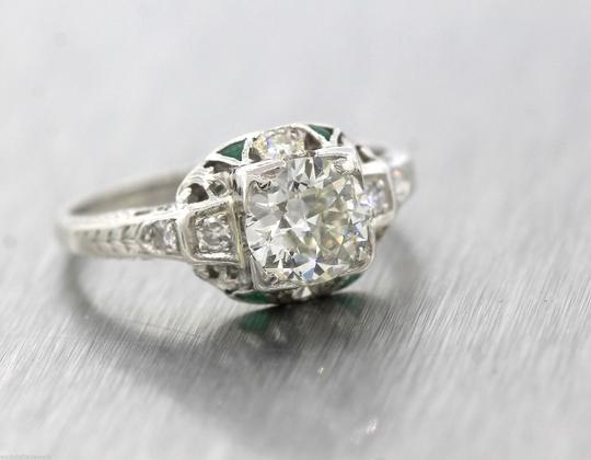 Other Antique Art Deco 1.16ctw Emerald Diamond Platinum Filigree Engagement Ring
