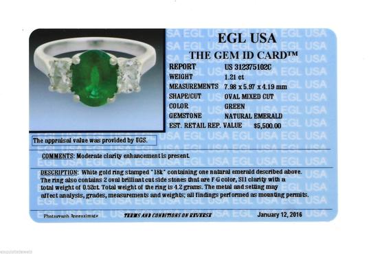 Other Lovely 1.21ct Oval Cut Green Emerald Diamond 18K White Gold Engagement Ring