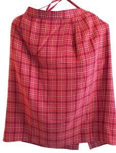 Lands End Skirt Red plaid