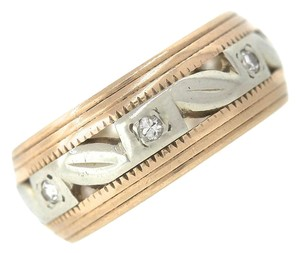 Other Lovely Ladies Retro 1940's 14K Rose White Gold 0.14ctw Diamond Wedding Band Ring