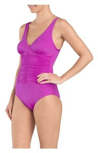 Badgley Mischka Badgley Mischka purple color Ruched one piece swimsuit.