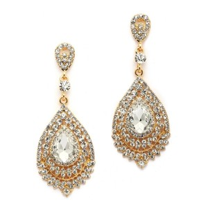 Mariell Dramatic Crystal & Gold Statement Earrings 4529e-cr-g