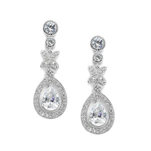 Mariell Vintage Framed Pears Bridal Earrings 3637e