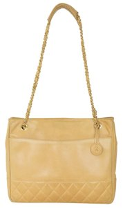 Chanel Calfskin Leather Tote Shoulder Bag