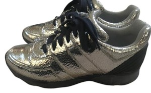 Chanel Leather Crackled Sneakers Silver Athletic