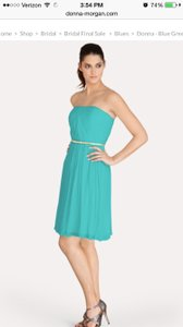 Donna Morgan Blue Green Chiffon Modern Bridesmaid/Mob Dress Size 12 (L)