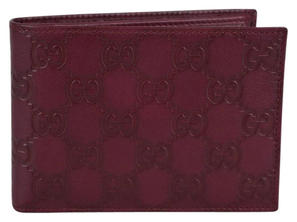 b039e12bd080 Gucci NEW Gucci Men's 292534 Wine GG Guccissima Leather W/Coin Large Bifold  Wallet Image ...