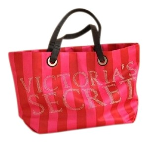 Victoria's Secret Magenta Rose Holiday Collector's Collector's Edition Special Limited Edition Bling Crystal Crystals Sparkle Sparkly Tote in Red & Pink Stripes