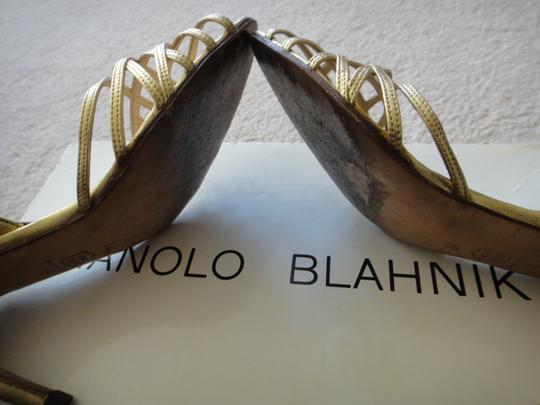 Manolo Blahnik Gold Leather Pumps