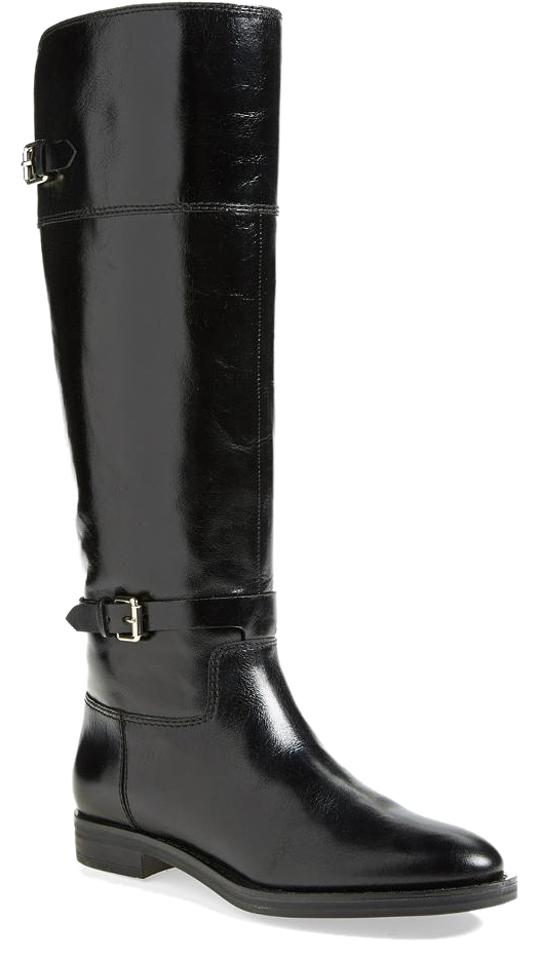 72406559f668 Enzo Angiolini Black Leather Eero Wide Calf Boots Booties Size US 6 ...
