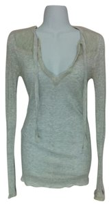 Free People Lace V-neck Tie Pettite Petite Top Gray