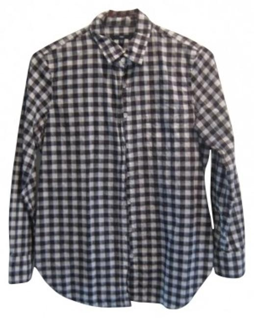 Gap Checkered Button Down Shirt Black, White