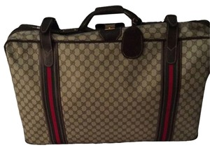 Gucci Brown Beige With Green And Red Strips Travel Bag
