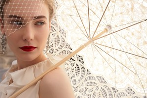 Ivory New Vintage Style Cotton Lace Parasol Other