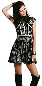 Free People short dress Black w Ivory trim Laurel Lace on Tradesy