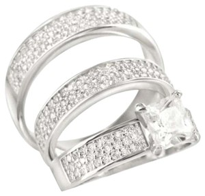 Other .925 Silver His Her Pc Lab Diamond Solitaire Engagement Bridal Rings Trio