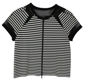 Lafayette 148 New York Striped Front Zip Short Sleeve Ny Top Black and White