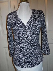 Donna Karan Animal Print Top black,white & grey