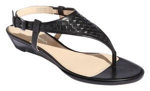 Via Spiga Leather Wedge T-strap Black Sandals