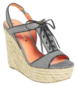 Via Spiga Leather Wedge Blue Sandals