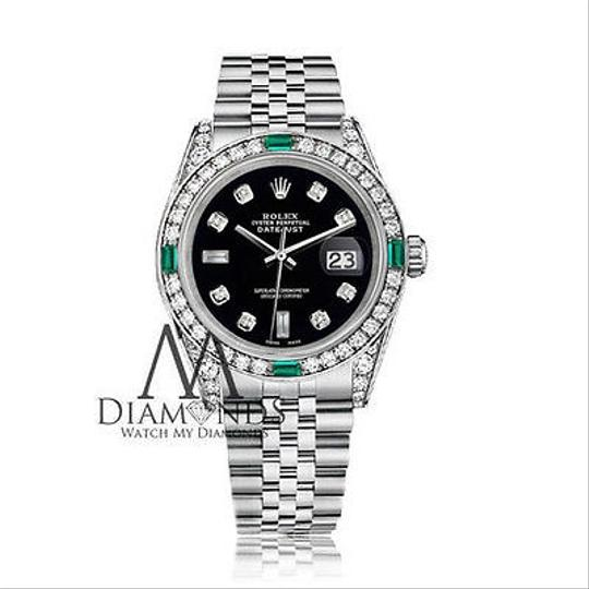 Rolex Ladies Rolex 26mm Black Emerald Dial Jubilee Bracelet Custom Diamonds