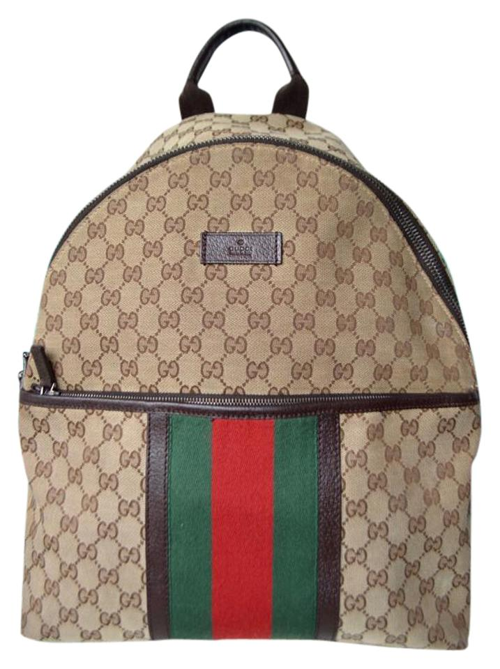 787c68ad2a0 Gucci Monogram Gg Web Red Stripe Brown Canvas Backpack - Tradesy