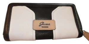Guess NEW GUESS BELVEDERE SLG WALLET COLOR WHITE/BLACK STYLE V6378599 ZIP-AROUND