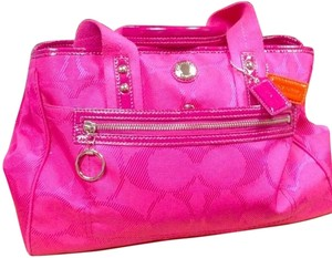 Coach Patent Leather Nylon Satchel in Pink