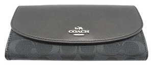 Coach COACH 12CM Signature Slim Envelop Wallet Clutch BLACK 53617