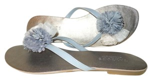 Talbots Leather Thong Floral Flowers grey multi Sandals