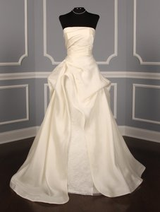 Anne Barge Pearl (Light Ivory) Silk Organza & Chantilly Lace Ab819 Formal Wedding Dress Size 4 (S)