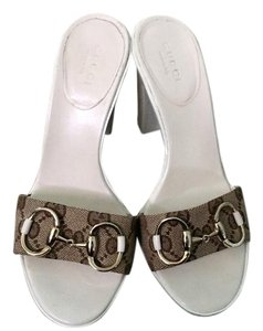 Gucci Sandal Monogram 5 Heels Brown Mules