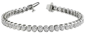 Avi and Co 3.00 cttw Round Brilliant Cut Diamond Semi-Bezel Tennis Bracelet 14K White Gold