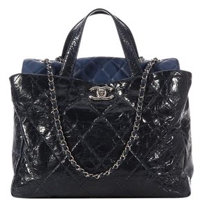 Chanel Blue Quilted Ch.k0519.10 Leather Lambskin Tote