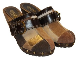 Coach And Suede | Ships Next Day | Patchwork | Brown Mules