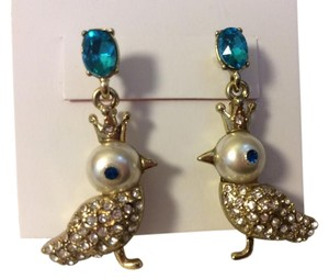 Betsey Johnson Betsey Johnson Goldtone with Turquoise Stones and Birds earrings