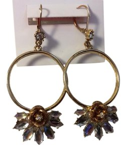 Betsey Johnson Betsey Johnson Goldtone Hoop Earrings with Taupe Roses and Rhinestones