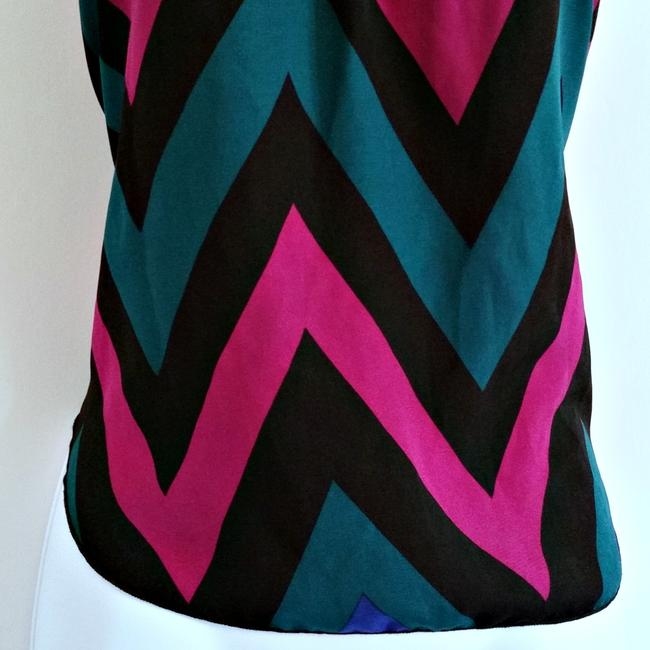 Vivace Design USA Open Back Jewel Chevron Stripe Striped Top Purple