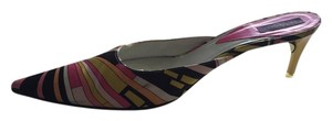 Emilio Pucci Vintage Neon Pink, Yellow, Black Print Mules