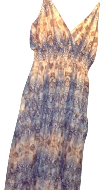 Item - Macy's with Tags Brown and Blue with Beaded Straps-very Pretty-retail On Tags Long Casual Maxi Dress Size 14 (L)
