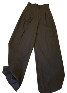 Richard Tyler Pinstripe Pockets Silk Lined Pleated Waist Wide Leg Pants Black
