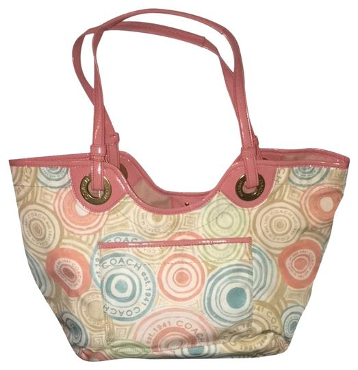 Coach Signature Designer Beach Summer Bright Pink Travel Limited Tote in Multi