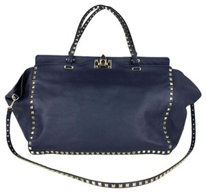 Valentino Rockstud Trapeze Tote in Navy
