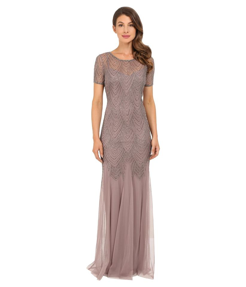 Adrianna Papell Beige Short-sleeve Beaded Gown Formal Bridesmaid/Mob ...