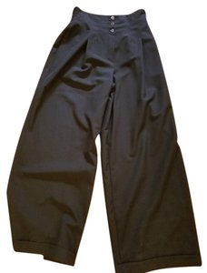 Claude Montana Vintage Pleated Waist Wide Leg Pants Black