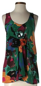 M Missoni Silk Floral Print Embellished Top