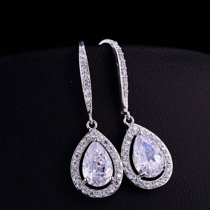 Cubic Zirconia Bridal Fish Hook Tear Drop Earrings