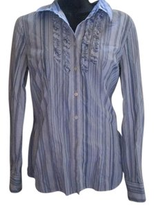 Tommy Hilfiger Striped Career Work Small Button Down Shirt White and Blue